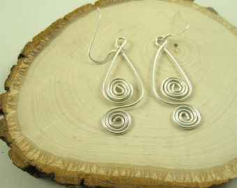 EA-O563 Non-Tarnish Silver Earring, Silver Wire Wrapped Earring