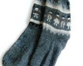 Llama Wool Socks / Handmade Vintage Peru