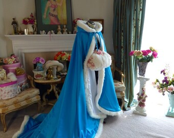 Beauty and the Beast Turquoise / Ivory Satin (2 tone) Reversible Bridal cape 52/ 88-inch  with Fur Trim Wedding Cloak Handmade