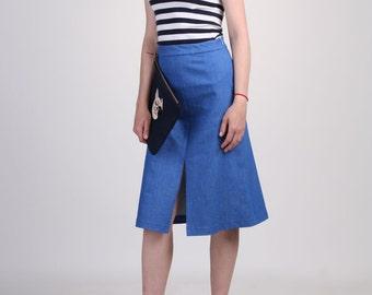 Front Slit Denim Skirt, Aline Denim Skirt, Midi Skirt, Pencil Skirt, Tailored Skirt, Wear to Work Skirt, Knee Length Skirt - Blue Denim