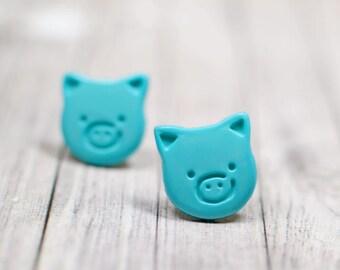 Teal Blue Pig Earrings, Cute Little Piggies Farm Animals Jewelry, Bright Blue Green Vegan Jewelry