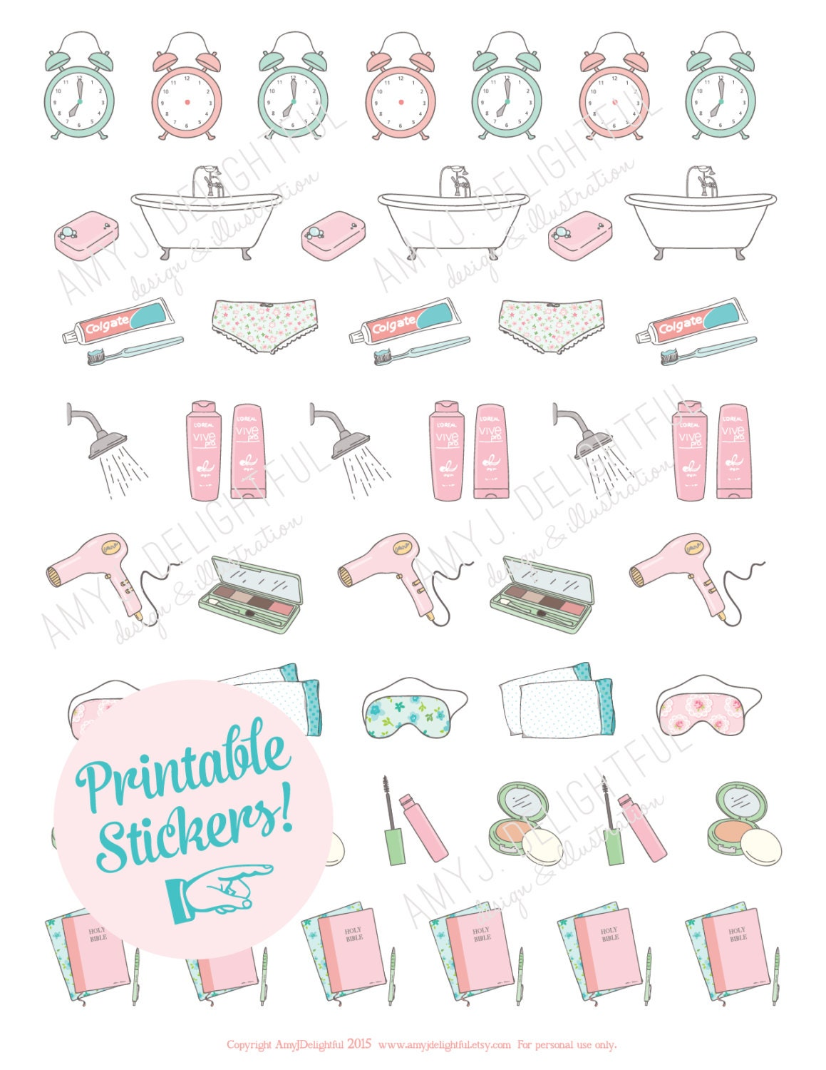 printable morning routine stickersdigital file instant