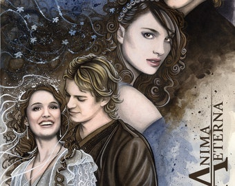 Custom Traditional Painting, Portrait or Illustration Watercolor Commission - Fantasy Portrait - 2 Characters