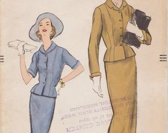 Vogue 9266 / Vintage 50s Sewing Pattern / Jacket Skirt Suit / Size 14 Bust 34