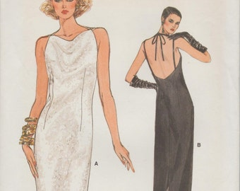 Very Easy Vogue 8982 / Vintage Sewing Pattern / Halter Dress / Evening Gown / Size 12 Bust 34
