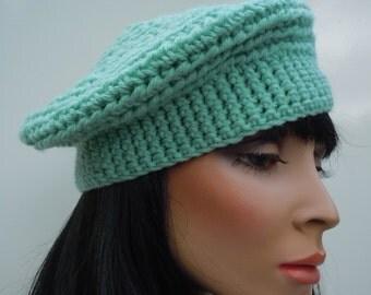 Beret, French Beret, Mint Green Hat, Green Beanie, Crocheted Hat, Light Green Cap