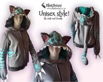 MADE TO ORDER - Tim Burton inspired Cheshire hoodie
