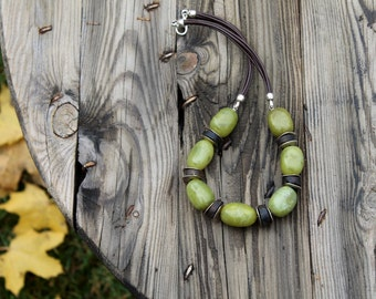 Pistachio Green Statement Necklace Rough Gemstone Raw Amber Green Jadeite Huge Bib Forest Natural Earthy Colors