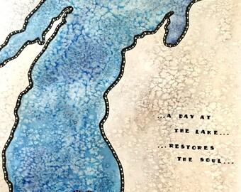 Lake Michigan Map Etsy - Lake michigan map