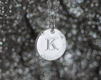 Single Letter Monogram Necklace, Sterling Silver Initial Necklace, Vintage Style Typewriter Key Charm