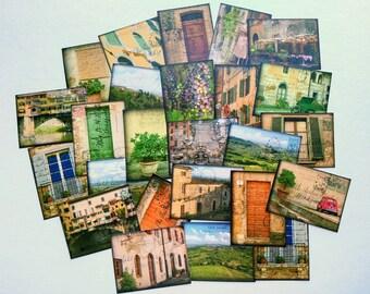 "25 Italy Stickers, 1.5"" x 2"" (38x51mm), Italy Ephemera Stickers, Postcard stickers, Italian Travel stickers, Recycled Tuscany stickers, (25)"