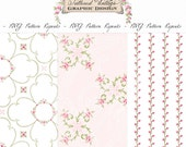 PNG Pattern Repeats Transparent Background Overlay Repeating Pink Roses Instant Download