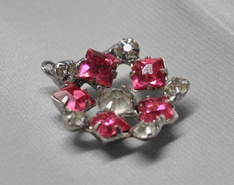 1 Vintage Pendant Drop Charm Mid-Century Rhinestones for Assemblage Jewelry Faux Pink Sapphires