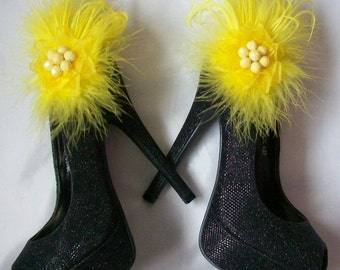 Bright Yellow Fluff Feather Satin or Lace Detail Glamorous Shoe Clips Bridal Wedding - Custom Made to Order
