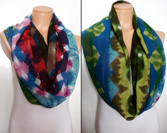 Batik Scarf Infinity Scarf Circle Scarf Summer Scarf Rainbow Scarf Red Blue Green Women Fashion Accessory Christmas Gifts For Her Headband.