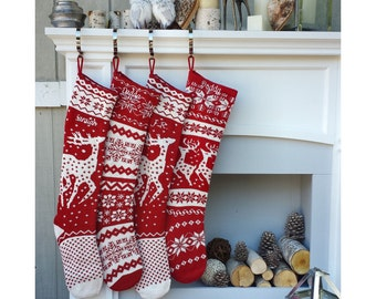 Knit Christmas Stockings - Red White - Renindeer or Snowflake Design Scandinavian Nordic Modern Holiday Theme