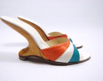 1950s Leather Boomerang Heels - Cantilever Heels - Florenzia Made in Italy Size 7N orange teal // wooden heel // VLV