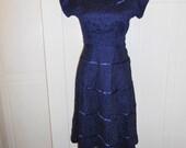 Vintage 1950s Navy Blue Lace Dress
