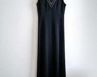 Black Maxi Dress, 70s Black Maxi Dress, Vintage Leslie Fay Black Dress, Rhinestone Black Evening Dress, SALE