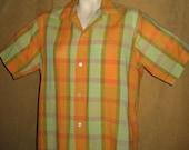 Mens Plaid Shirt Orange Green Rockabilly 50s 60s Vintage