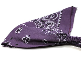 Bandana Headwrap, Plum Purple Head Wrap, Kerchief Hair Band, Plum Purple Head Scarf, Dusty Purple Kerchief Headscarf (#3023) S M L