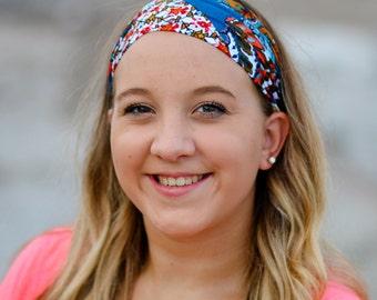 Print Knit Headband, Multi Color Yoga Headscarf, Yoga Headscarves, Exercise Bandana, Headband Modern (#1025) S M L X
