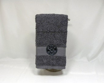 Doctor Who Seal of Rassilon embroidered hand towel - gray