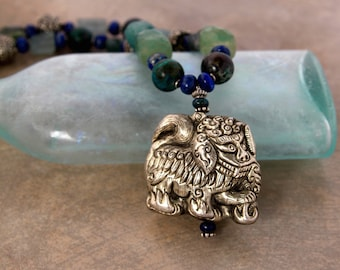 Chinese Foo Dog Necklace Vintage Lion Dog w Chunky Blue Gemstone Nuggets Ornate Silver Ethnic Asian Jewelry