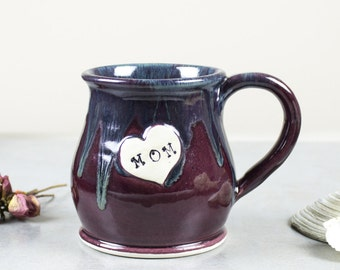 Gift for mom Coffee mug, Mother's Day coffee cup, heart, Ceramic love mug, eggplant purple Handmade POTTERY mugs, kitchen, For Her, Under 30