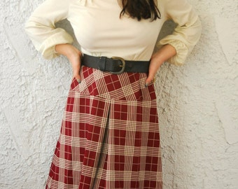 Vintage 1970s Dress Tartan Prep School - sz Small