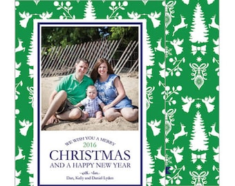 Silhouette Christmas Paysage Photo Card | Choose Your Color Combination | Choose from Patterned Back or Photo Collage Back