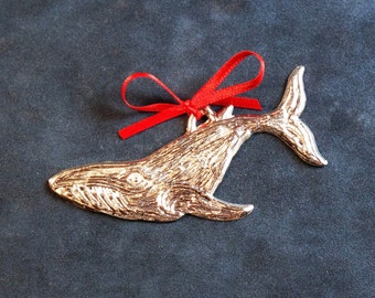 Pewter Whale Ornament