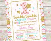 Twinkle Twinkle Little Star Birthday Invitation, Pink Gold Mint Twinkle Star Invite, One Year Old, Pink and Gold Birthday, Printable DIY