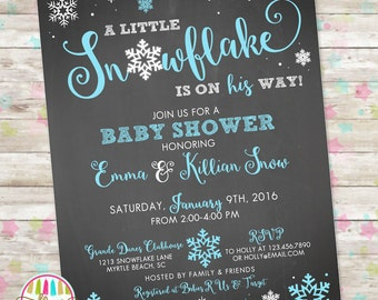 Christmas or Winter Baby Shower Invite, Holiday Invitation, Snowflake On The Way, Snowflake Baby Shower, Printable Invitation, DIY
