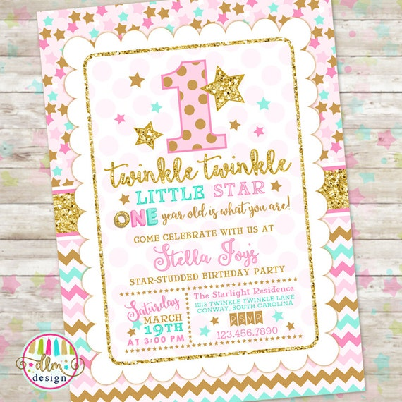 Twinkle Twinkle Little Star Birthday Invitation Pink Gold