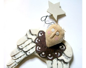 Primitive Vintage Angel Decor, Angel Wall Hanging, Wooden Angel Shabby Chic Angel Decor, Holiday Angel Decoration, Naive Angel Decor