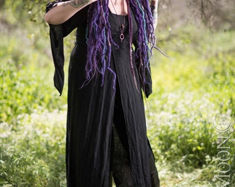 New LIMITED EDITION: The Nomad Cloak with Hood in Black w/ vintage crystals by Opal Moon Designs (Size S-XXL)
