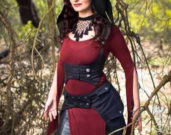 NEW: The Black Pinstripe Underbust Vest/Harness w/DETACHABLE Pixie Hood by Opal Moon Designs (Size S, M, L, XL)