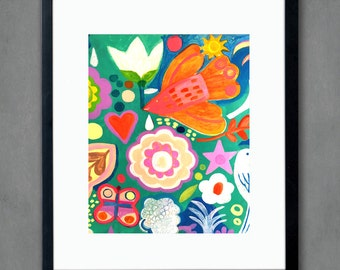 Colorful -Art print, flowers, Bohemian Flower, folk, funky, naive, floral painting, Mexican.