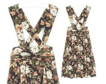 Vintage Suspender Dress * Pinafore Dress * Floral Dress * Overall Skirt * Small