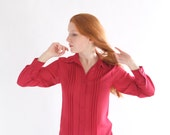 Red crepe vintage blouse, Japan, small