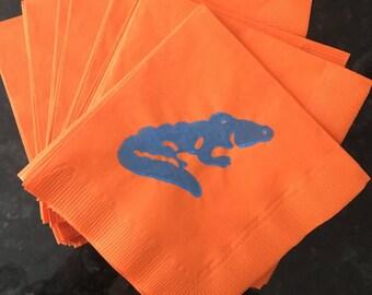 Orange and Blue Alligator Paper Cocktail/ Lunch/ Dinner Napkins