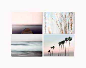 SALE, Pastel Beach Prints, Set 4 Photos, Blue Ocean, Pink Beach, Pastel Beach Decor, Shabby Chic, Nautical Wall Art