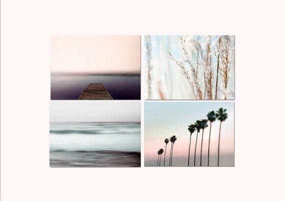 SALE, Pastel Beach Prints, Set 4 Photos, Blue Ocean, Pink Beach, Pastel Beach Decor, Shabby Chic, Nautical Wall Art