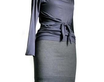 Womens skirt, Pencil Skirt, Grey Skirt, Pleated skirt, Casual skirt, Made to order skirt, Plus size skirt, Knee length skirt, Handmade skirt