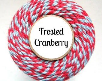 Red and Light Blue Bakers Twine by Trendy Twine - Frosted Cranberry - Christmas, Winter, Holiday Craft, Packaging, Treats, Favors, Baking