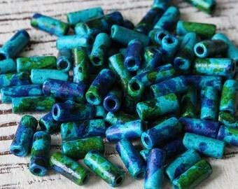 Mykonos Beads - 9mm Short Tube - Jewelry Making Supply - Mykonos Ceramic Beads - Choose Your Amount - Aegean Blue Green Mix