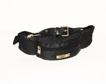 VINTAGE MOSCHINO Black Nylon Leather Logo Bum Bag Fannypack -Authentic-