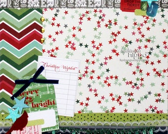 "MERRY & BRIGHT -  Finished  12""x12"" Scrapbook Page - Christmas"