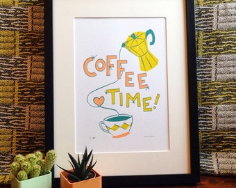 Coffee Time Limited Edition Screen Print - Vintage Inspired - Coffee Art Print